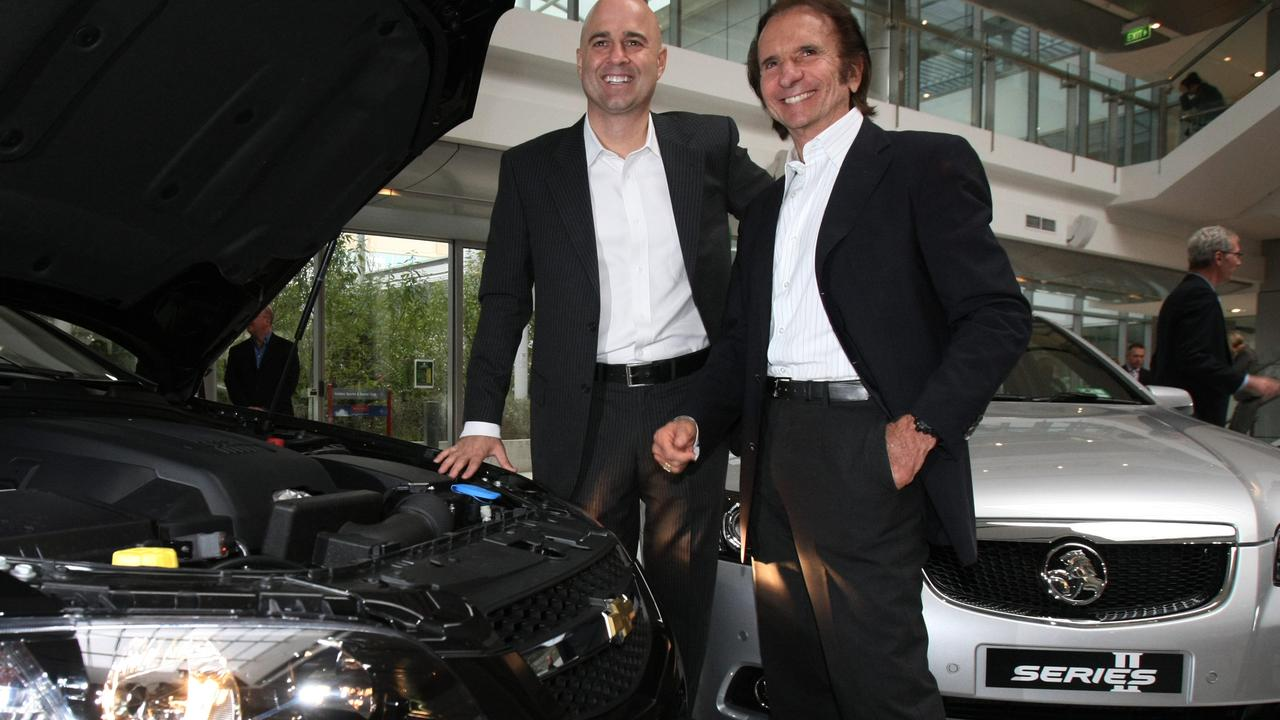 Former Holden Chairman and Managing Director Mike Devereux with Brazilian motor racing icon, Emerson Fittipaldi with the special edition export Omega in 2010.