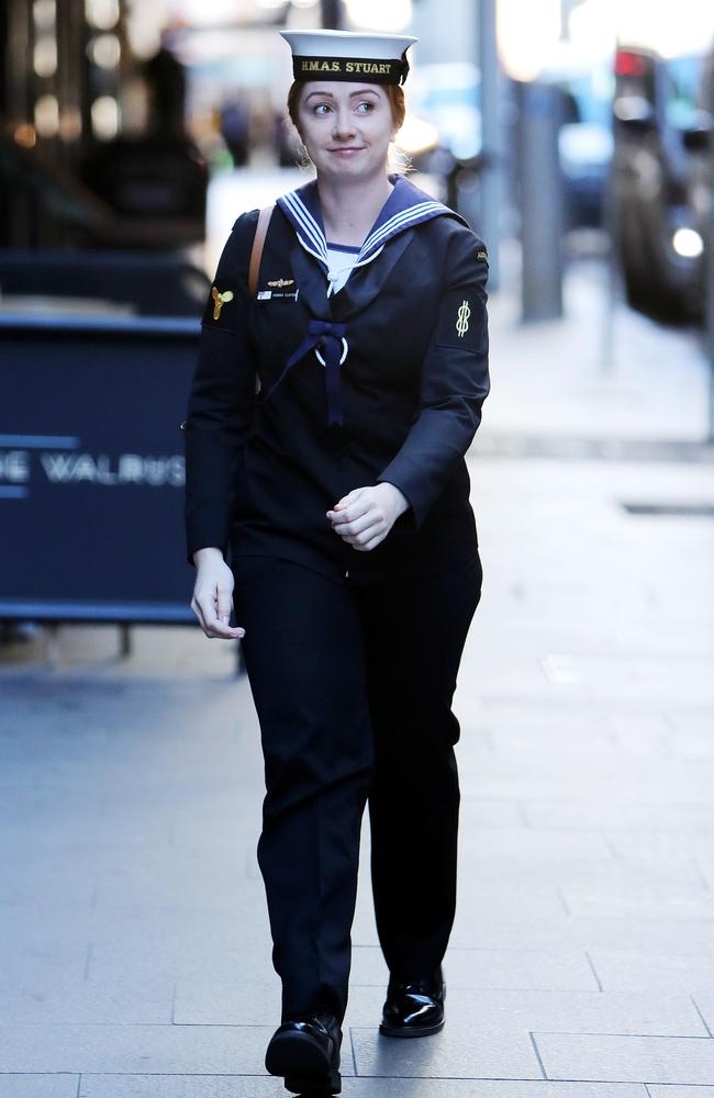 Able Seaman Hannah Clayton arriving at the Defence Plaza for her trial. Picture: Tim Hunter