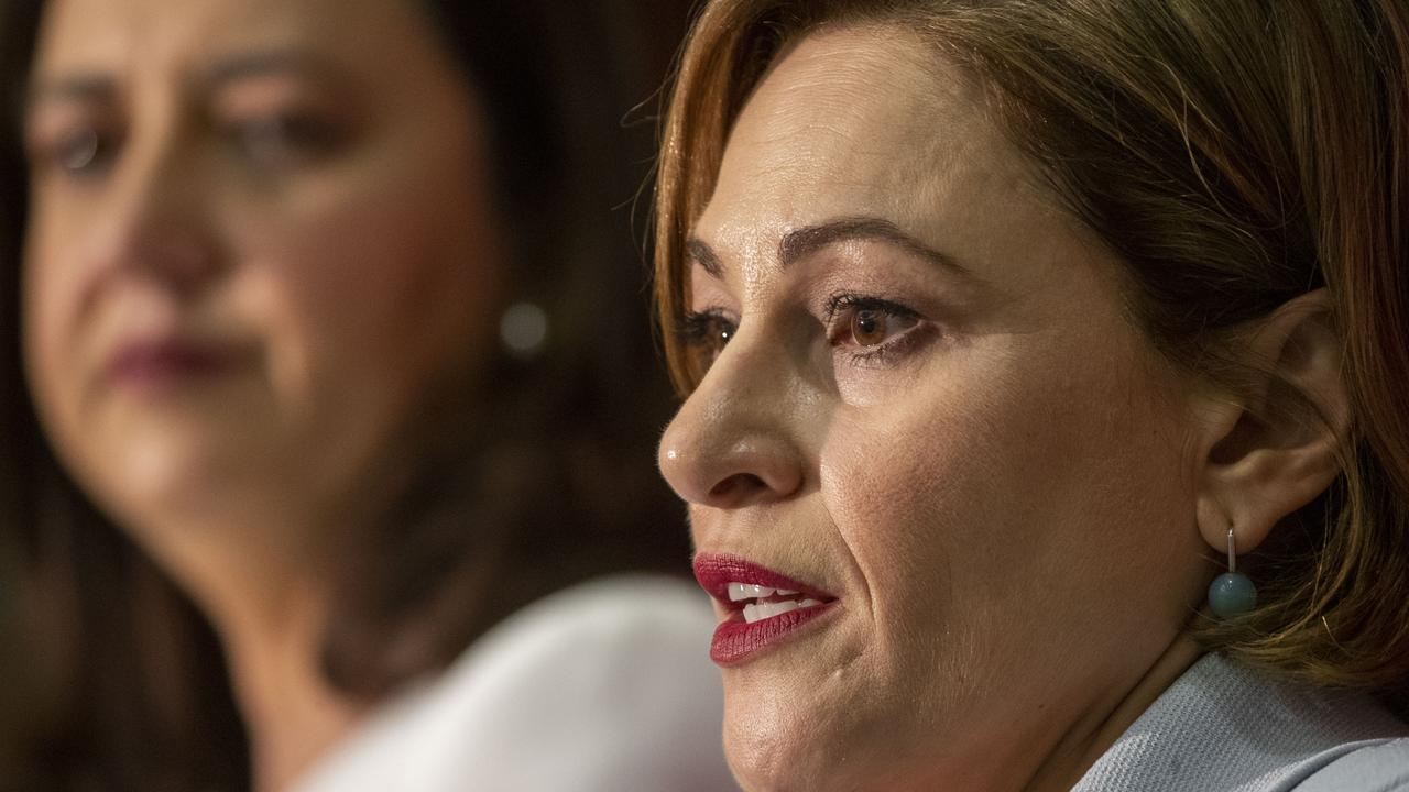 Queensland Premier Annastacia Palaszczuk and Treasurer Jackie Trad. (AAP Image/Glenn Hunt)