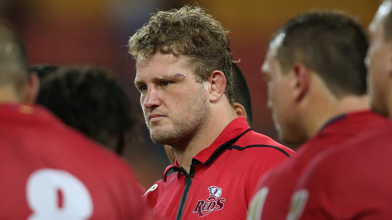 James Slipper speaks to his Reds team after a loss to the Chiefs last season. Picture: AAP Image/Jono Searle