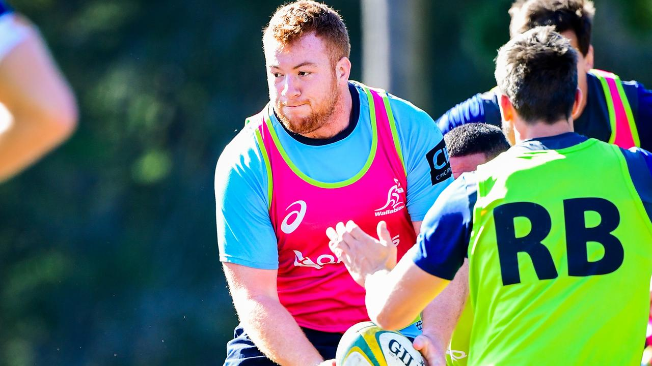 The Qantas Wallabies train at Wests Bulldogs Rugby Union Club, Brisbane. Harry Johnson-Holmes. Photo: Rugby AU Media/Stuart Walmsley
