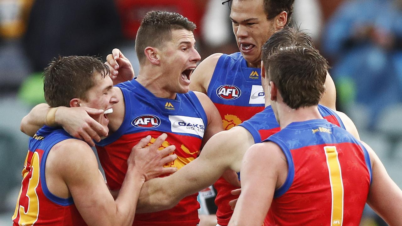 Dane Zorko is mobbed by teammates after kicking a goal against Port Adelaide last week. Picture: Getty Images