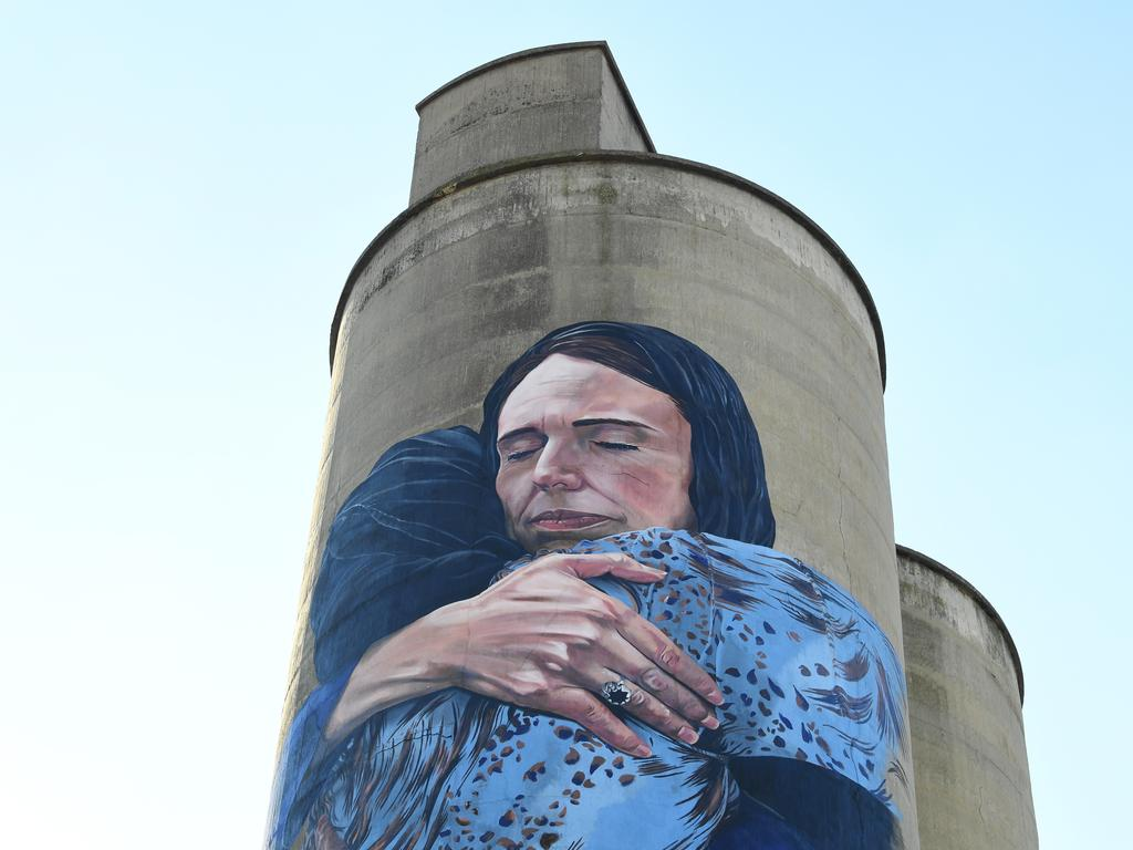 Jacinda Ardern's response to Christchurch has been painted in a giant mural in Melbourne by artist Loretta Lizzio. Picture: James Ross/AAP