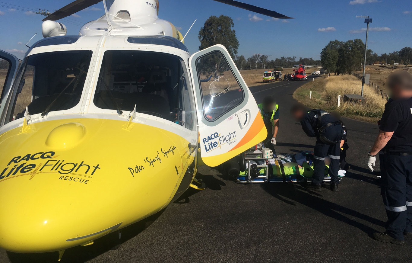 The RACQ LifeFlight Rescue helicopter has flown a man to hospital, after he was critically injured in a motorbike crash, north-west of Ipswich on Saturday.