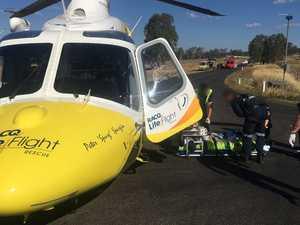 Biker's leg torn off as motorcycles, car crash near Ipswich