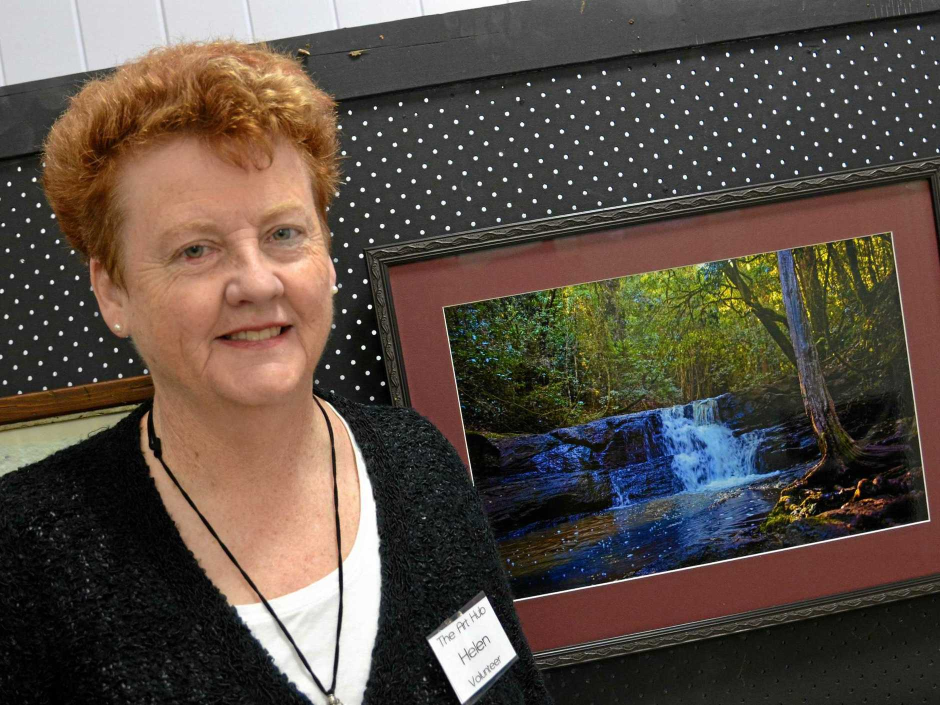 Photographer Helen Robinson with her piece 'Browns Falls'.
