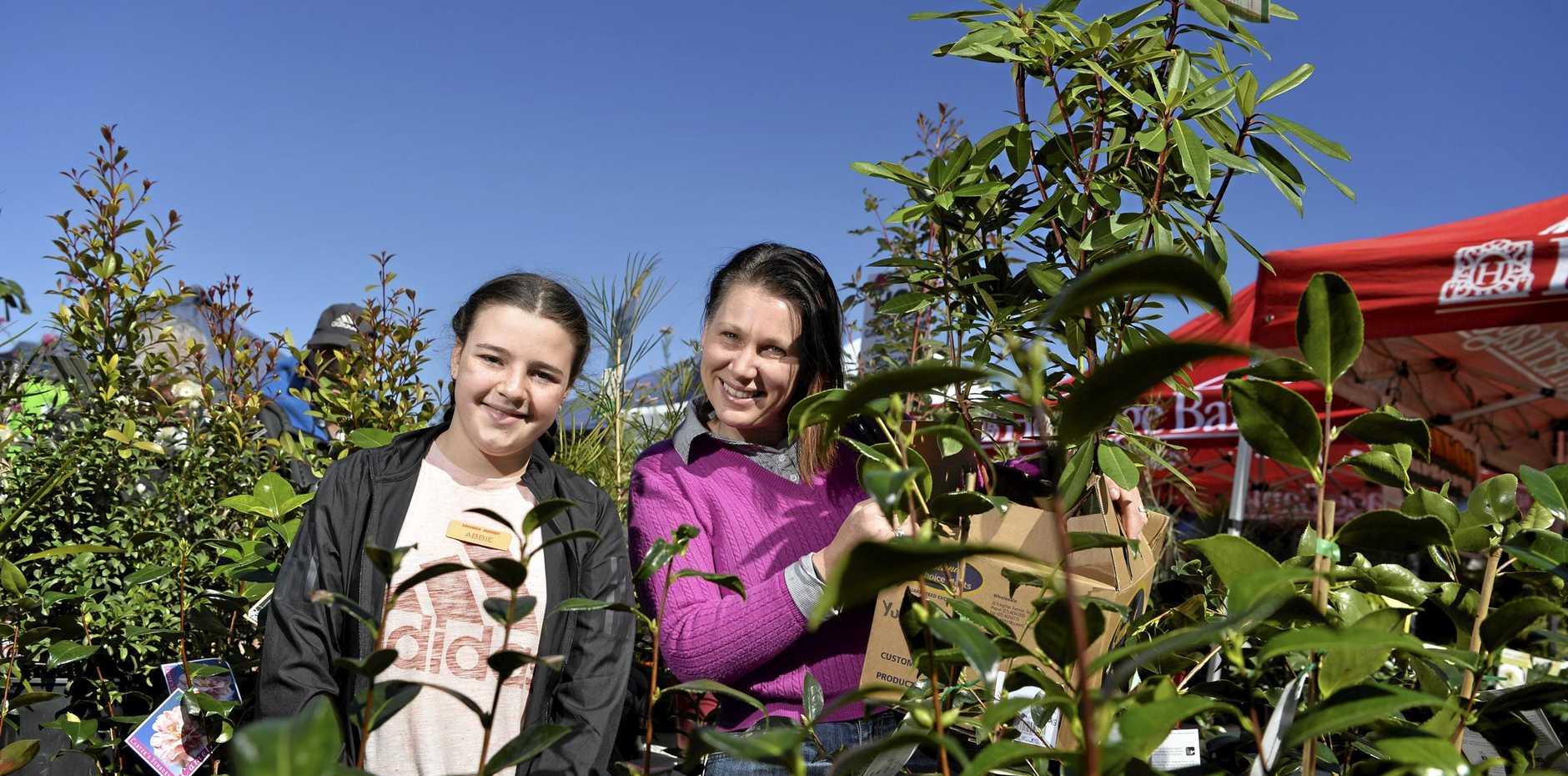 Abbie Coroneos (left) helps Wanita Judge choose her plants.