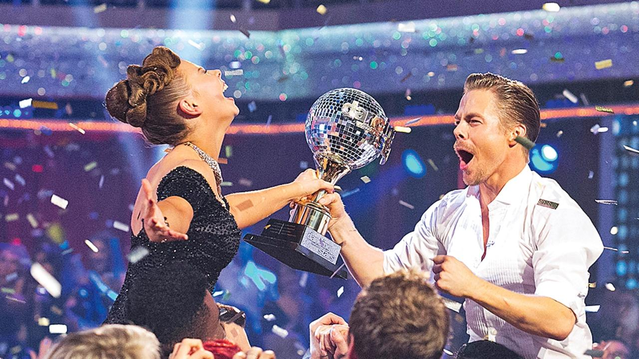 Bindi and Derek Hough after being crowned winners of the American Dancing With The Stars in 2015. (Picture: Getty Images)