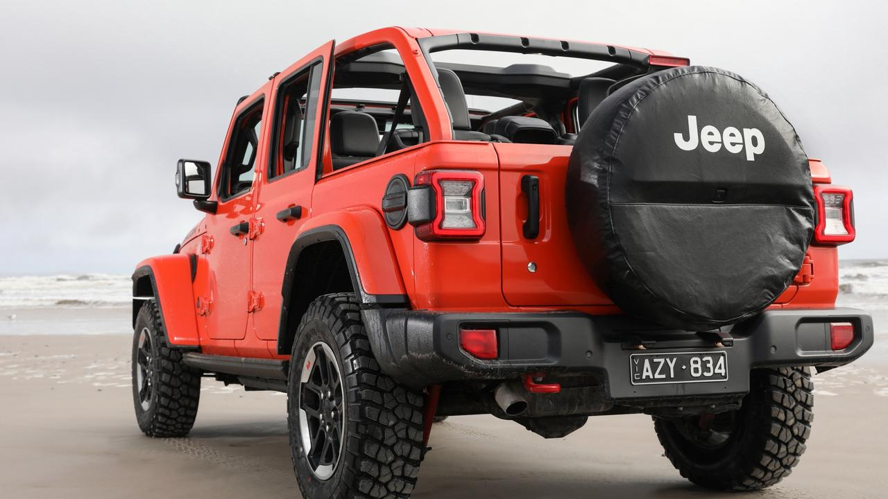 The Wrangler can drop its top and the windscreen can also be removed.