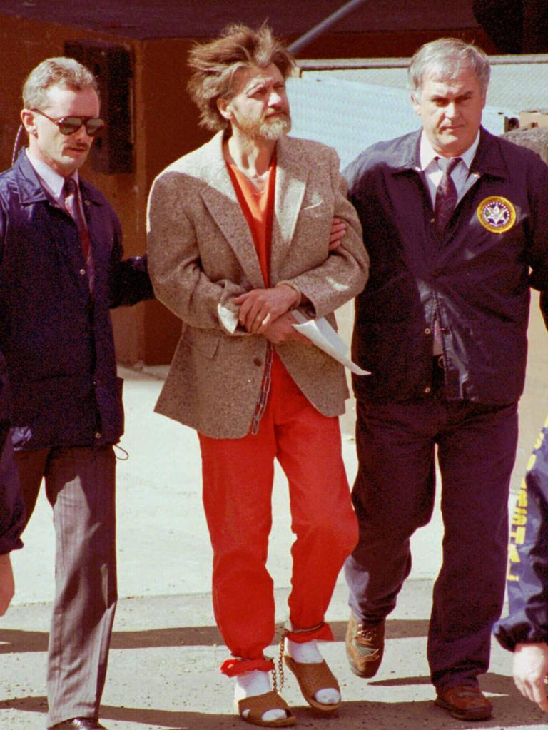 USA Unabomber Ted Kaczynski being escorted from the courthouse by federal agents in 1996.