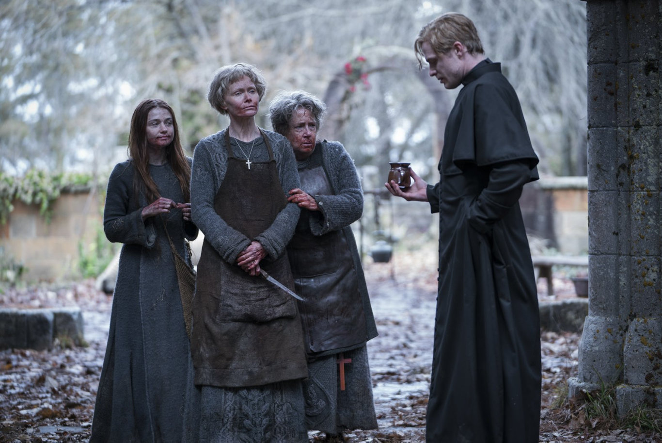Jessica Barden, Essie Davis, Ann Dowd and Sam Reid in a scene from Lambs of God.