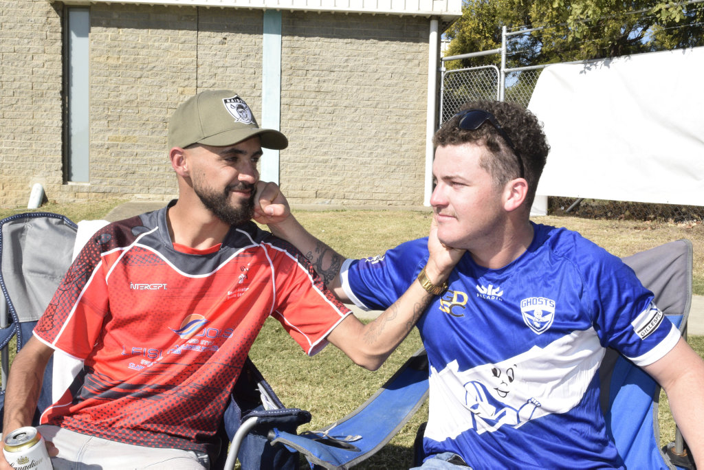 Zac Skinner and Jye Thompson share a joke ahead of kick-off between the Grafton Ghosts and South Grafton Rebels.