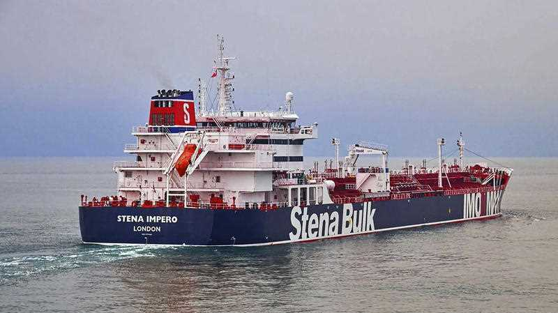 In this undated photo issued Friday July 19, 2019, by Stena Bulk, showing the British oil tanker Stena Impero at unknown location