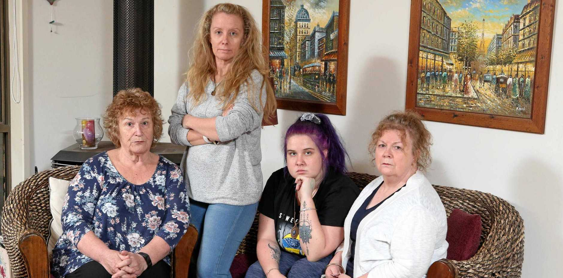 Holiday makers were terrified when eight people became trapped in an elevator during their stay at a Sunshine Coast hotel. Among them were Gold Coast family (L-R) Vivian Woods, Sharlene Hall, Reannah Hall and Jennifer Chilver.