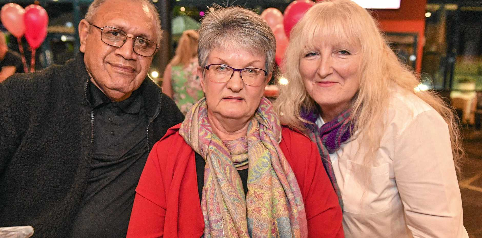 ROCK ON: Deborah Jeffery, Jenny Long and Ben Long enjoying a meal and a shaw at Harvey Road Tavern's girls' night out on saturday.
