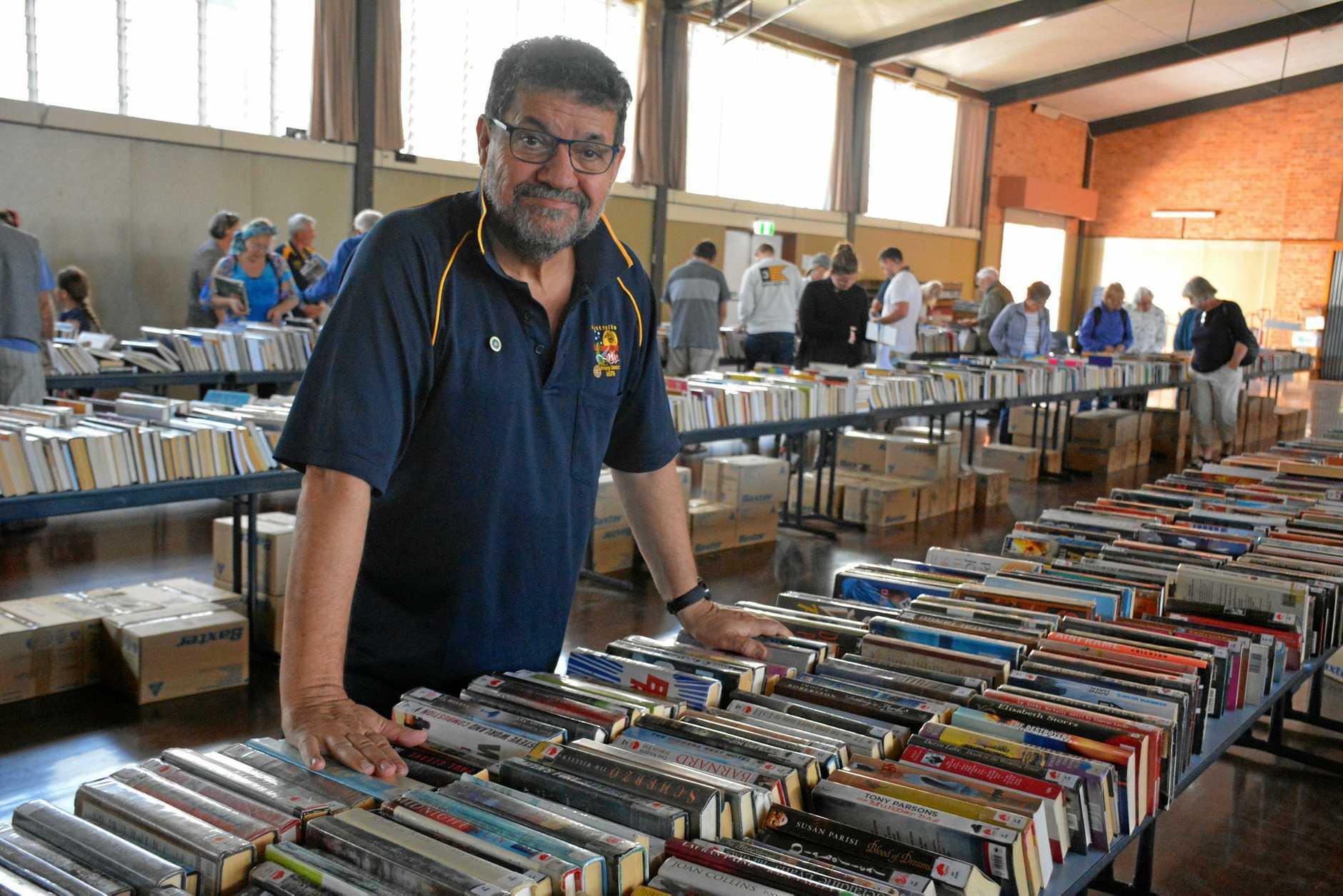 PACKING: Book fair organiser Ross Peddlesden.