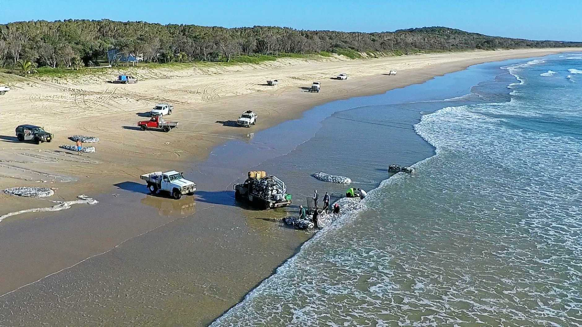 Mass catch of mullet 1Km north of Noosa River mouth; photo taken from a drone