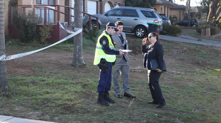 Police at the western Sydney scene. Picture: David Swift