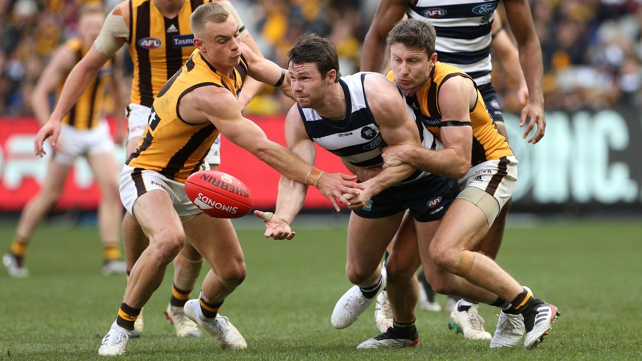 The Cats were under constant pressure against the Hawks. Picture: AAP Images