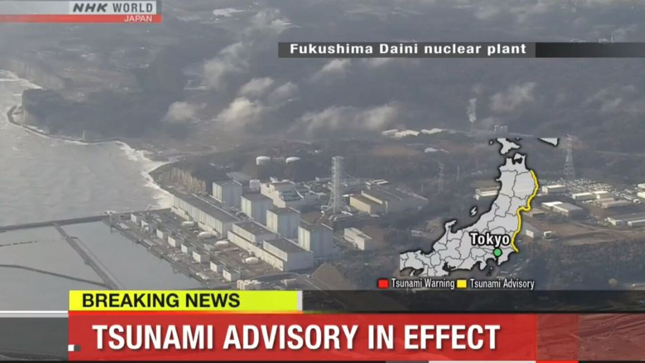 An aerial shot of the Fukushima Daiichi Nuclear Power Station as Japan was warned of tsunami threats. Picture: Supplied