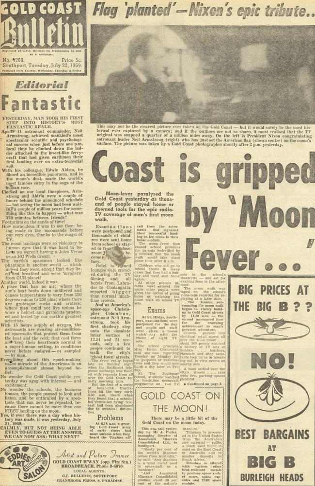 Gold Coast Bulletin 1969, July 22. Front page.
