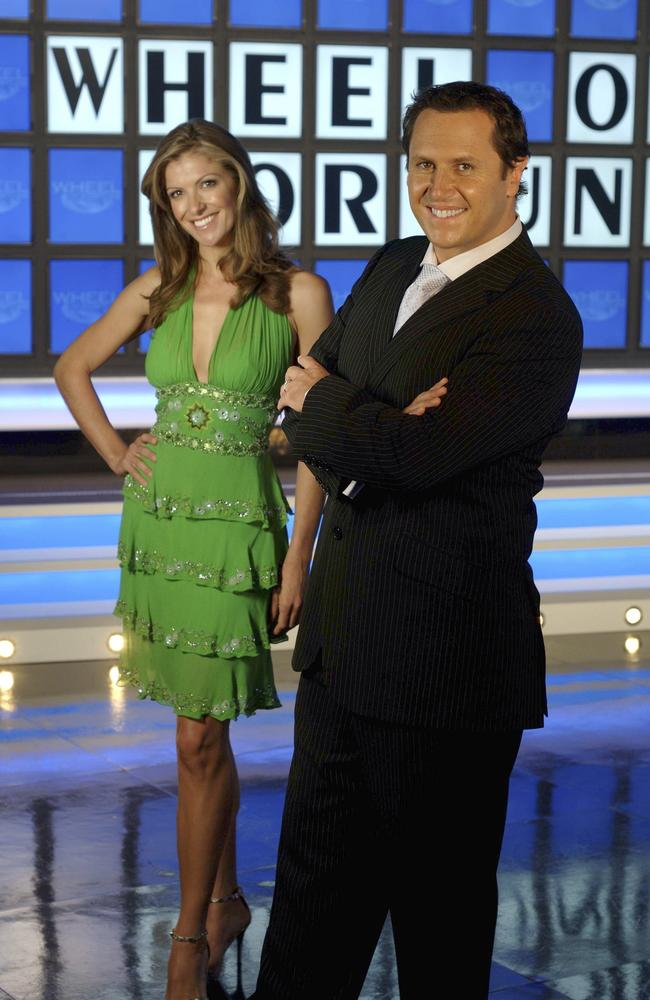Larry Emdur — with mannequin Laura Csortan — hosted Wheel of Fortune for a spell. He soon moved on from game shows into breakfast TV. Picture: Supplied.
