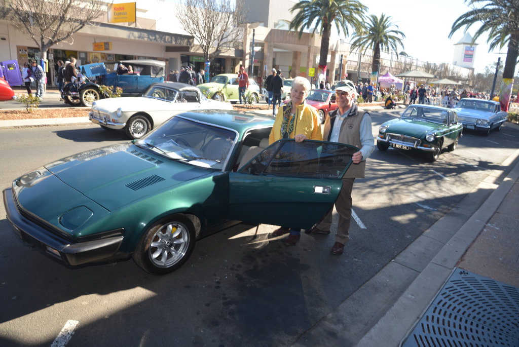Marilyn and Phil O'Brien with their TR7 V8 Triumph in