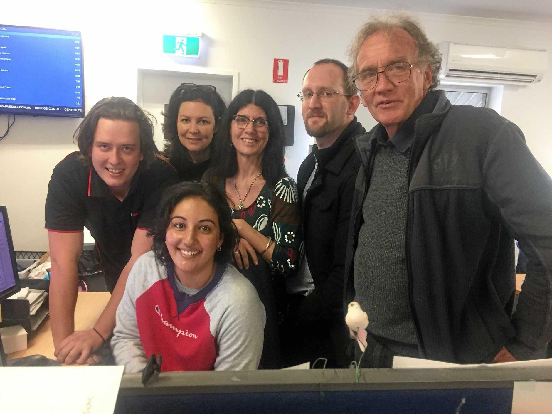Some of The Gympie Times news crew - Josh Preston, Bec Singh, Shelley Strachan, Rowena Robertson, Scott Kovacevic and Arthur Gorrie.