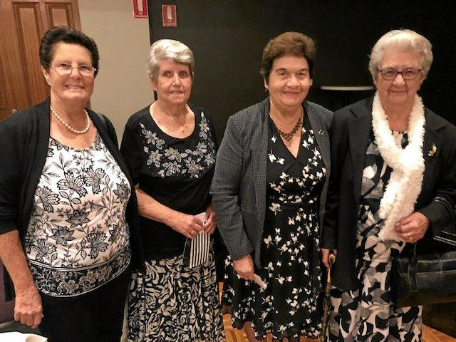 CUPPA GOOD CHEER: Bev Oustin, Janice Hoare, Thelma Pritchard and Betty Rutherford enjoying themselves at a successful morning tea   at the Rockhampton Leagues Club.