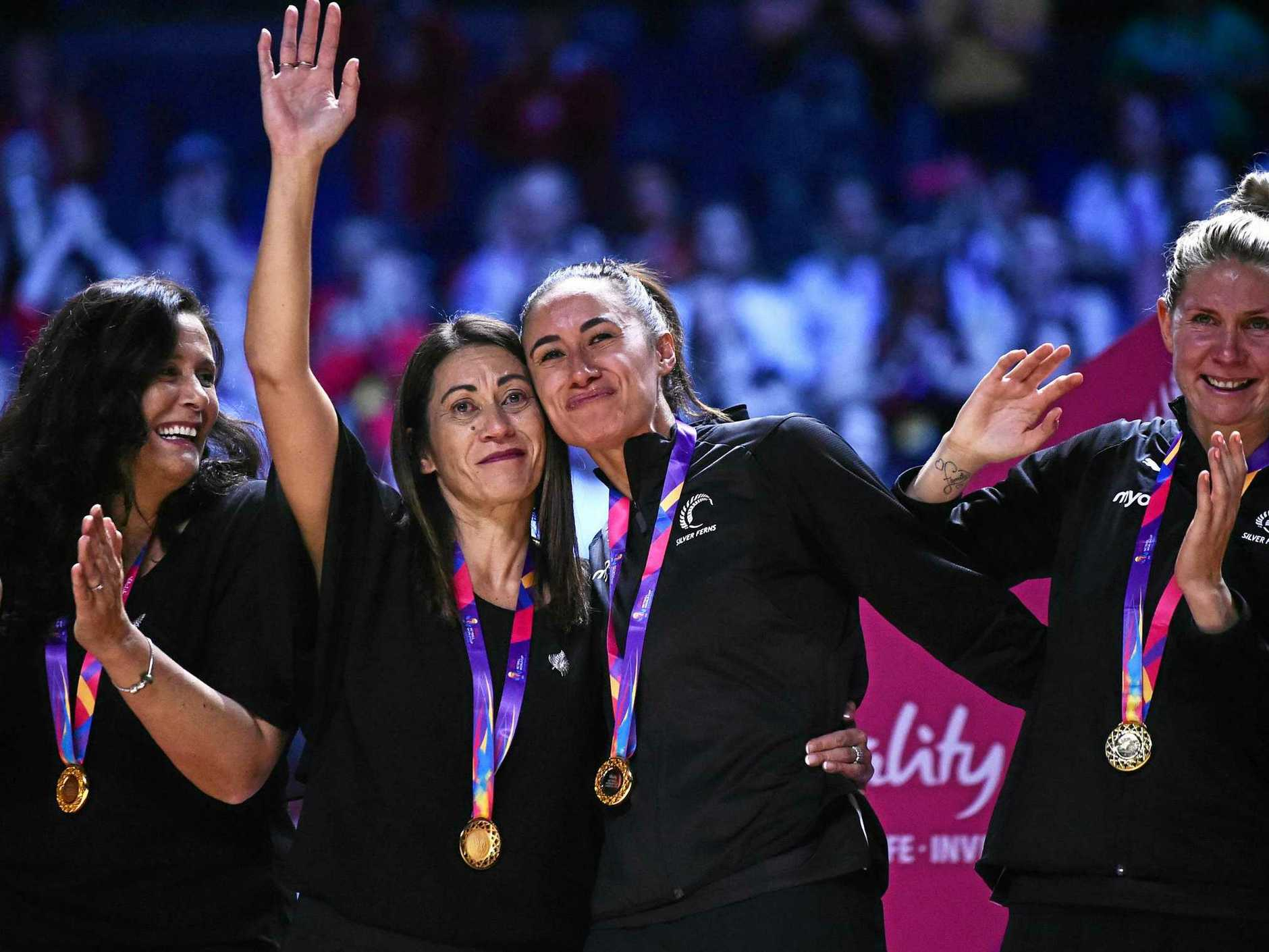 LIVERPOOL, ENGLAND - JULY 21:  Maria Foulau celebrates with Noeline Taurua coach of New Zealand after winning the World Cup during the Vitality Netball World Cup Final match between Australia and New Zealand at M&S Bank Arena on July 21, 2019 in Liverpool, England. (Photo by Nathan Stirk/Getty Images)