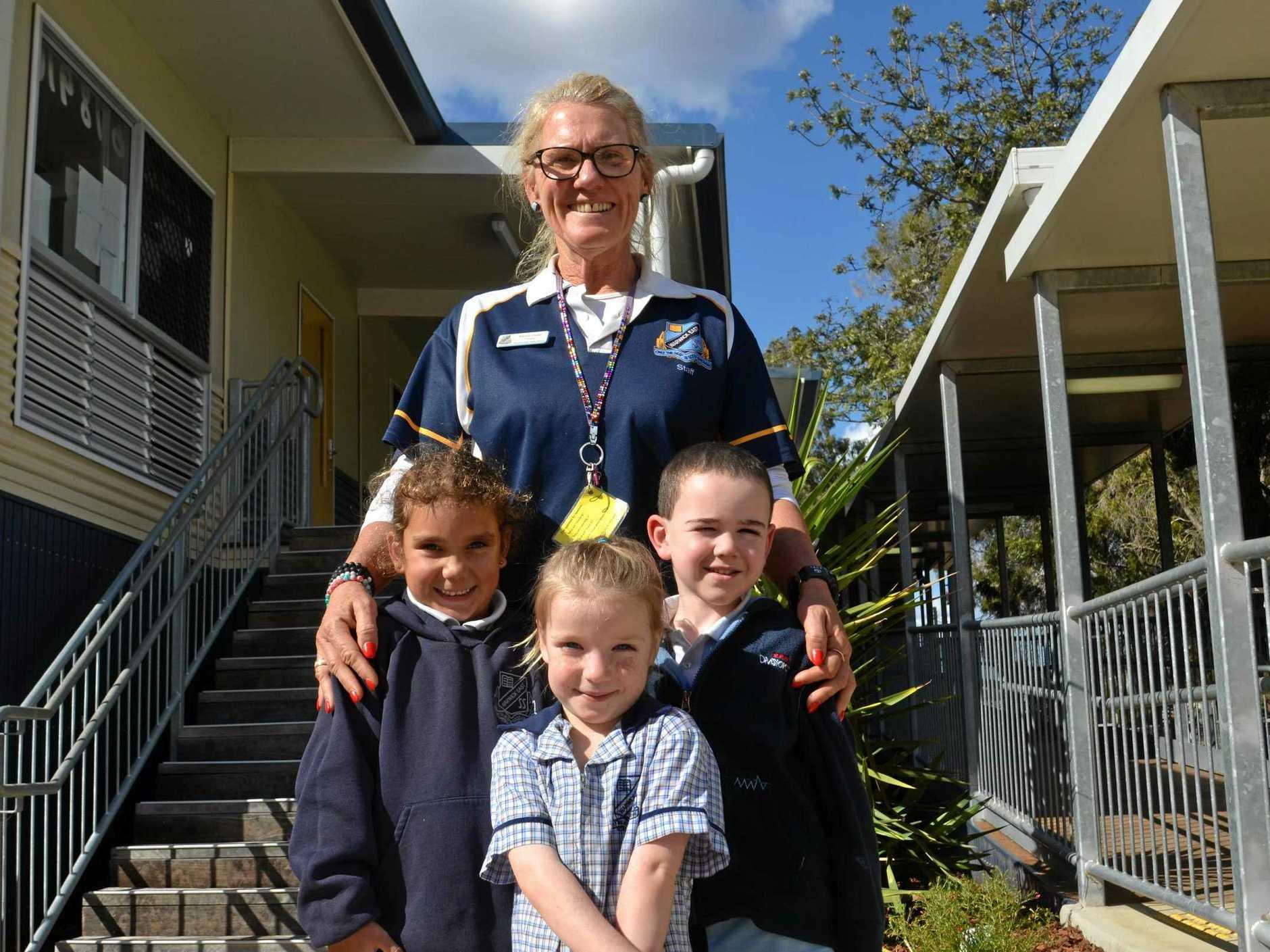 BOUNCING BACK: Warwick East principal Marina Clarke with Prep students Elizah Hoffman, Flynt Buckland and Destiny Hale.