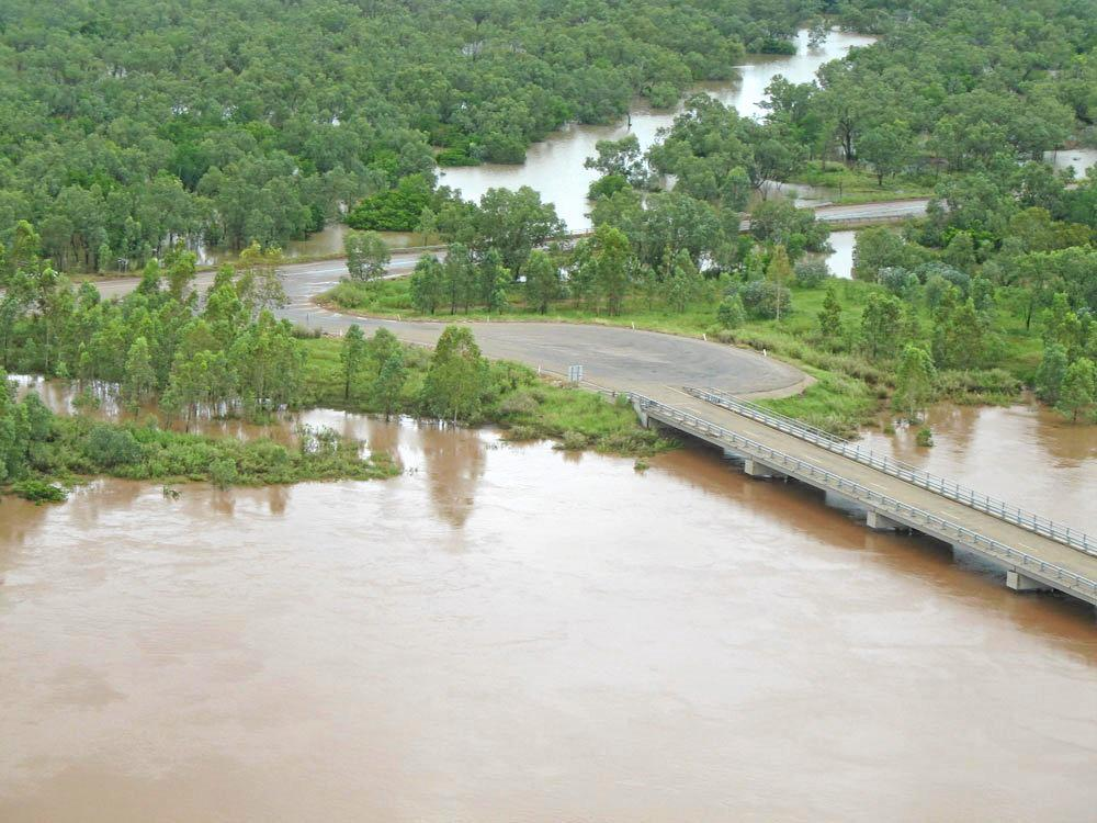 FLOOD PROOFING: An aerial view of the impact on Bradshaw Bridge during the 2008 flood. Adjacent is the existing Little Horse Bridge.