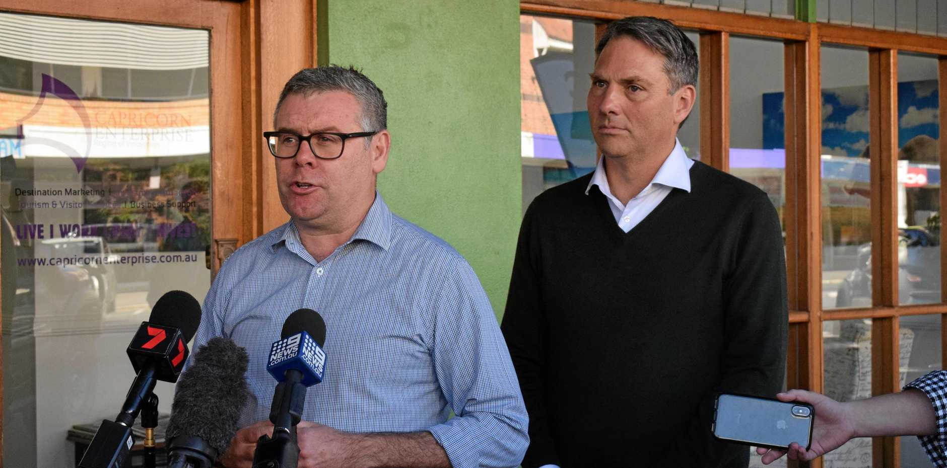 LISTENING TOUR: Shadow Minister for Northern Australia Murray Watt (left) and Labor deputy leader Richard Marles called on the government to speed up local infrastructure project roll-outs.
