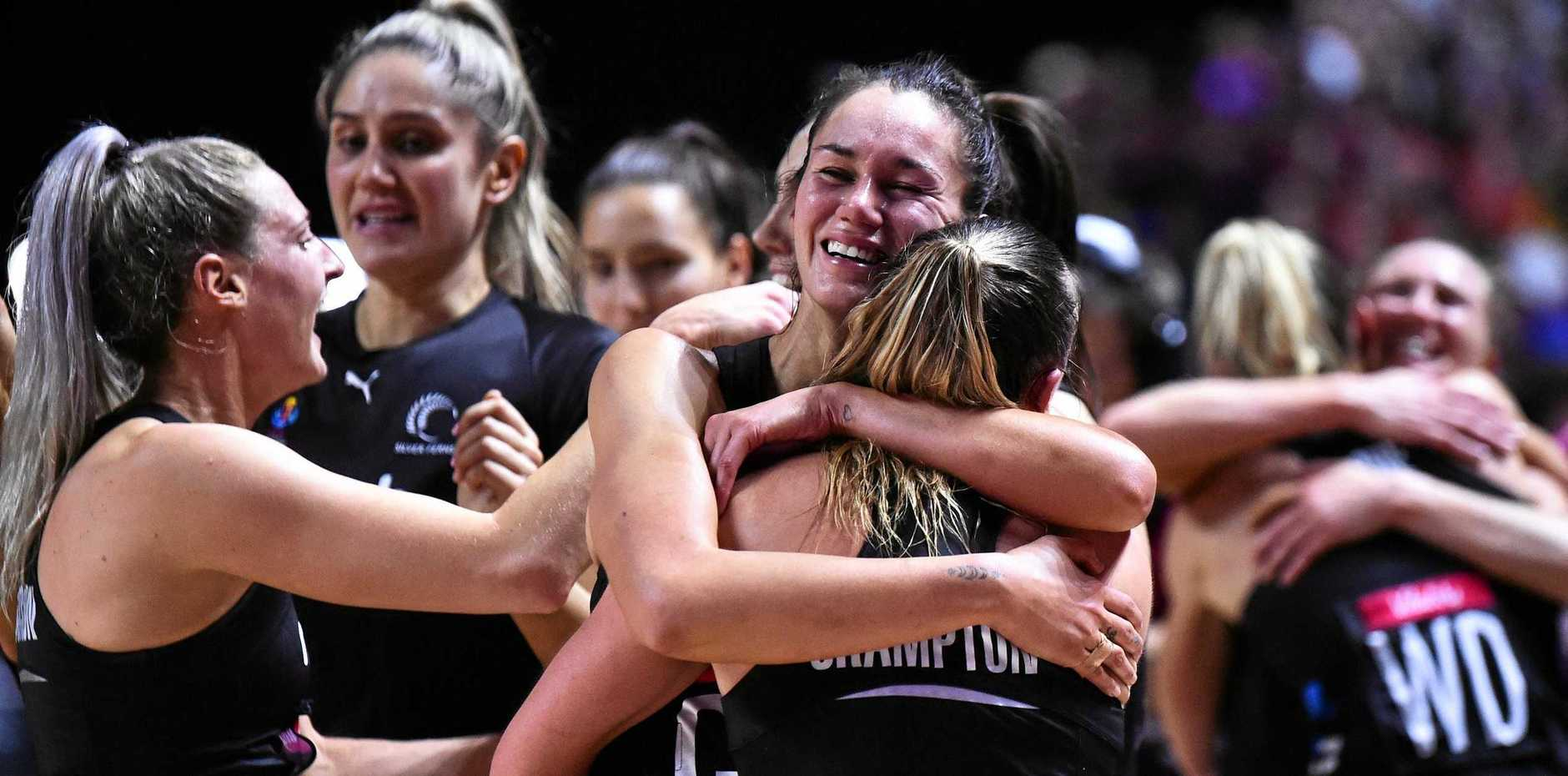 EMOTION: Bundaberg's Ameliaranne Ekenasio lets out happy tears after New Zealand won the Netball World Cup final against Australia in England.