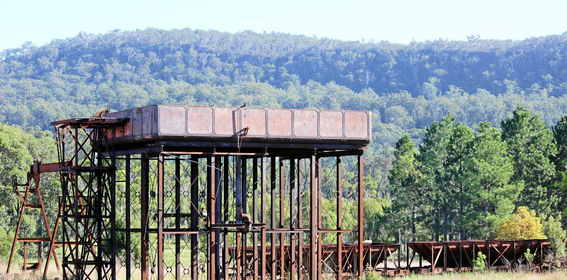 NO MORE: The water tower as it stood at the historic Glenreagh railway yard.
