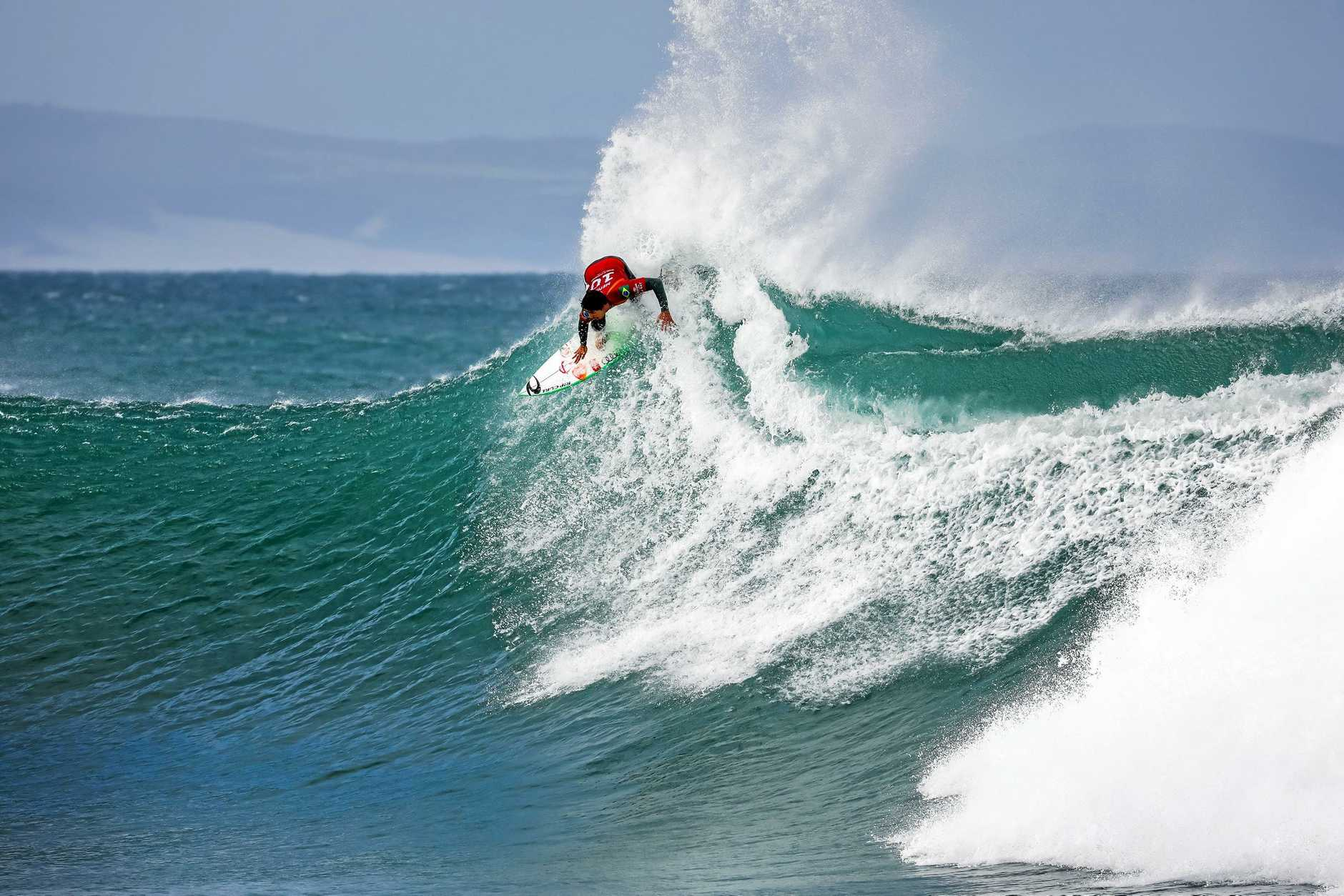JEFFREYS BAY, SOUTH AFRICA - JULY 19: Two-time WSL Champion Gabriel Medina of Brazil wins the 2019 Corona Open J-Bay after winning the final at Supertubes on July 19, 2019 in Jeffreys Bay, South Africa. (Photo by Pierre Tostee/WSL via Getty Images)