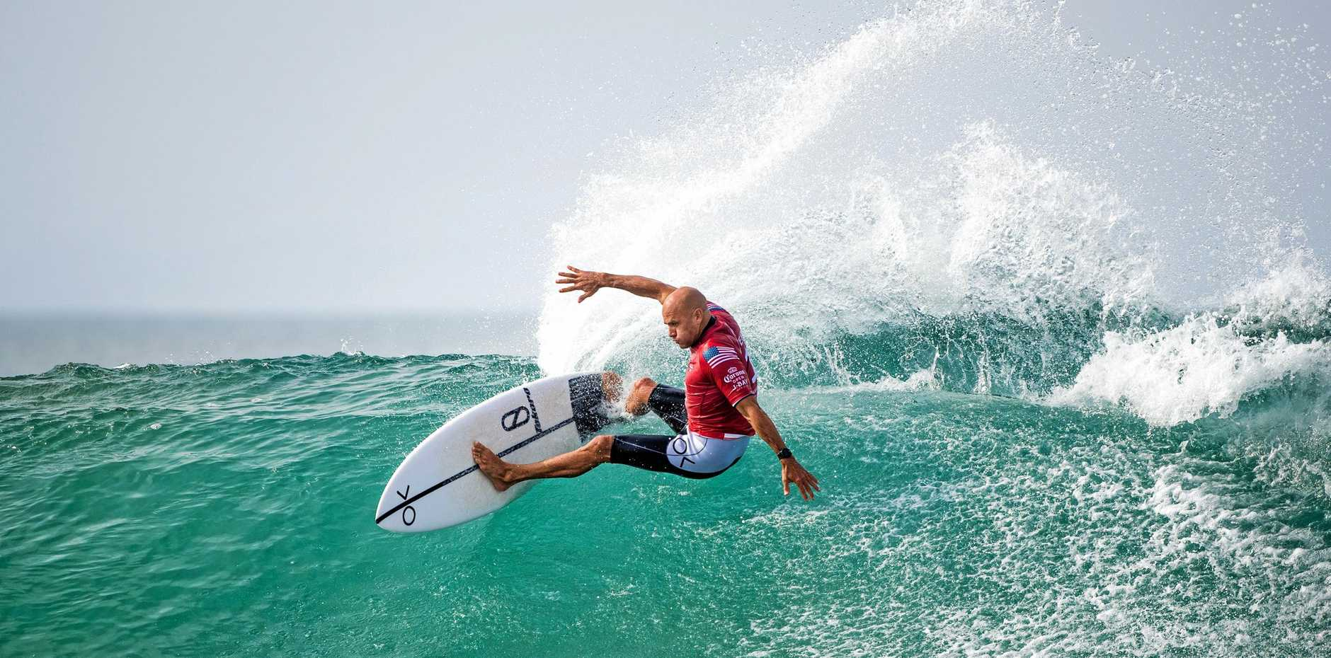 BOWING OUT: Eleven-time WSL Champion Kelly Slater of the US was eliminated from the 2019 Corona Open J-Bay with an equal ninth finish after placing second in Heat 8 of Round 4 at Jeffreys Bay, South Africa.