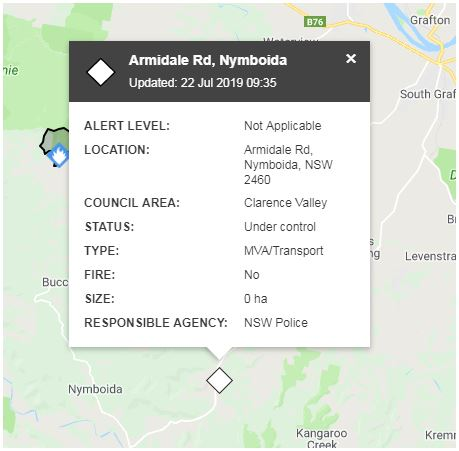 The incident occurred along Armidale Rd, Nymboida