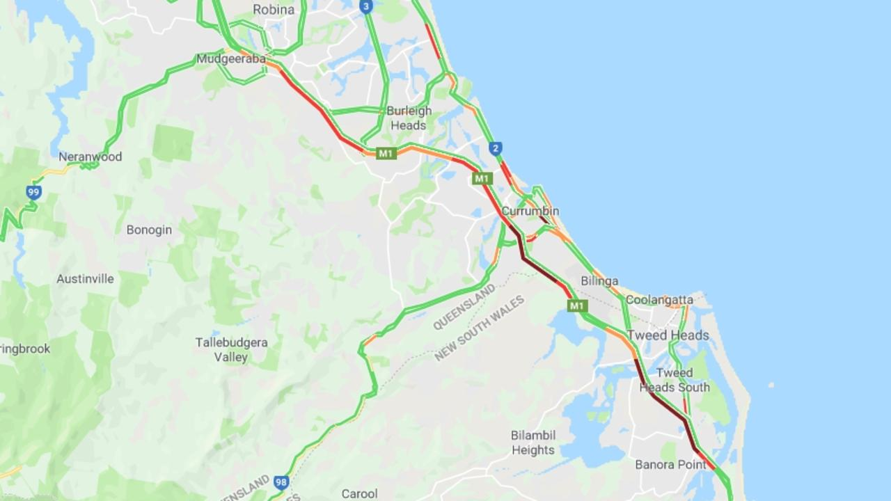 Traffic woes on the M1 on the Gold Coast after Splendour in the Grass. Picture: Google Maps