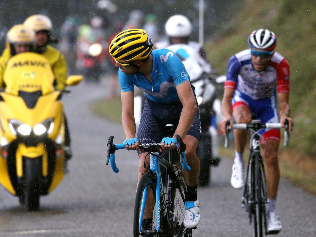Mikel Landa of Spain and Movistar Team looks back as Thibaut Pinot of France and Team Groupama-FDJ closes the gap. Picture: Chris Graythen/Getty Images