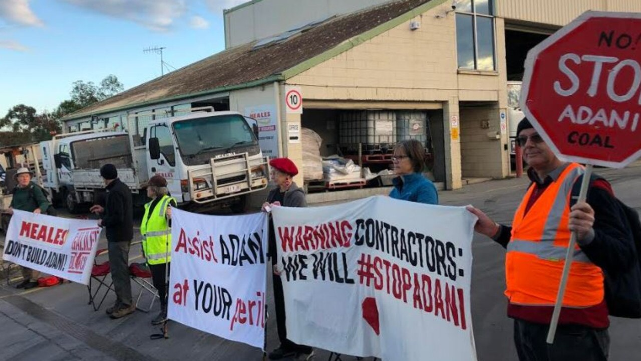 Anti-Adani protesters at a concrete plant at Windsor. Picture: Andrea Macleod