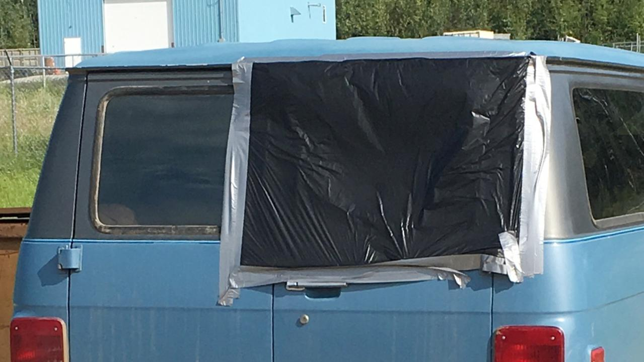 The rear window of the couple's van was smashed. Picture: Devan Boynton/ Supplied