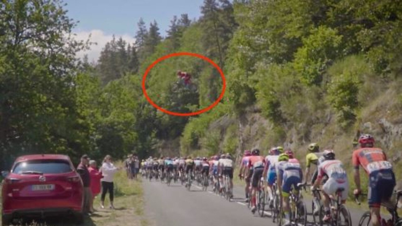 What the jump looked like from the peloton.