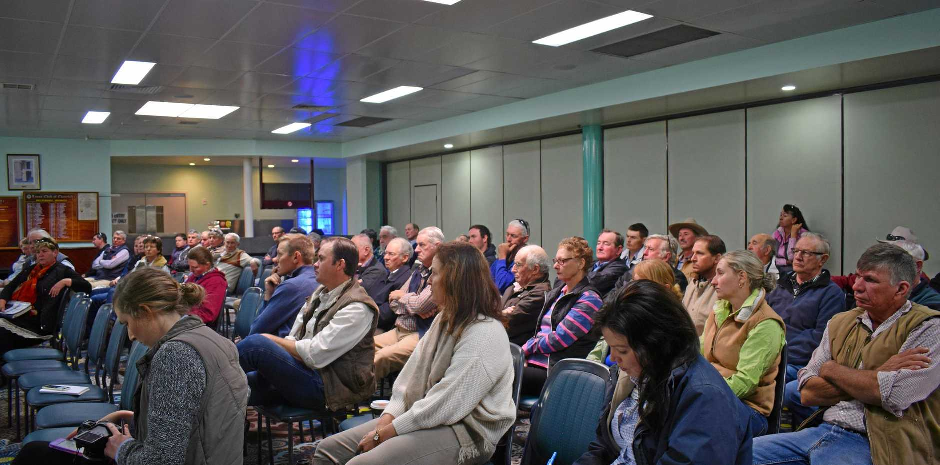 ANSWERS WANTED: Attendees at the Biosecurity Queensland cattle tick meeting in Chinchilla.