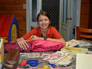 'Having fun': Young girl sewing her way to success