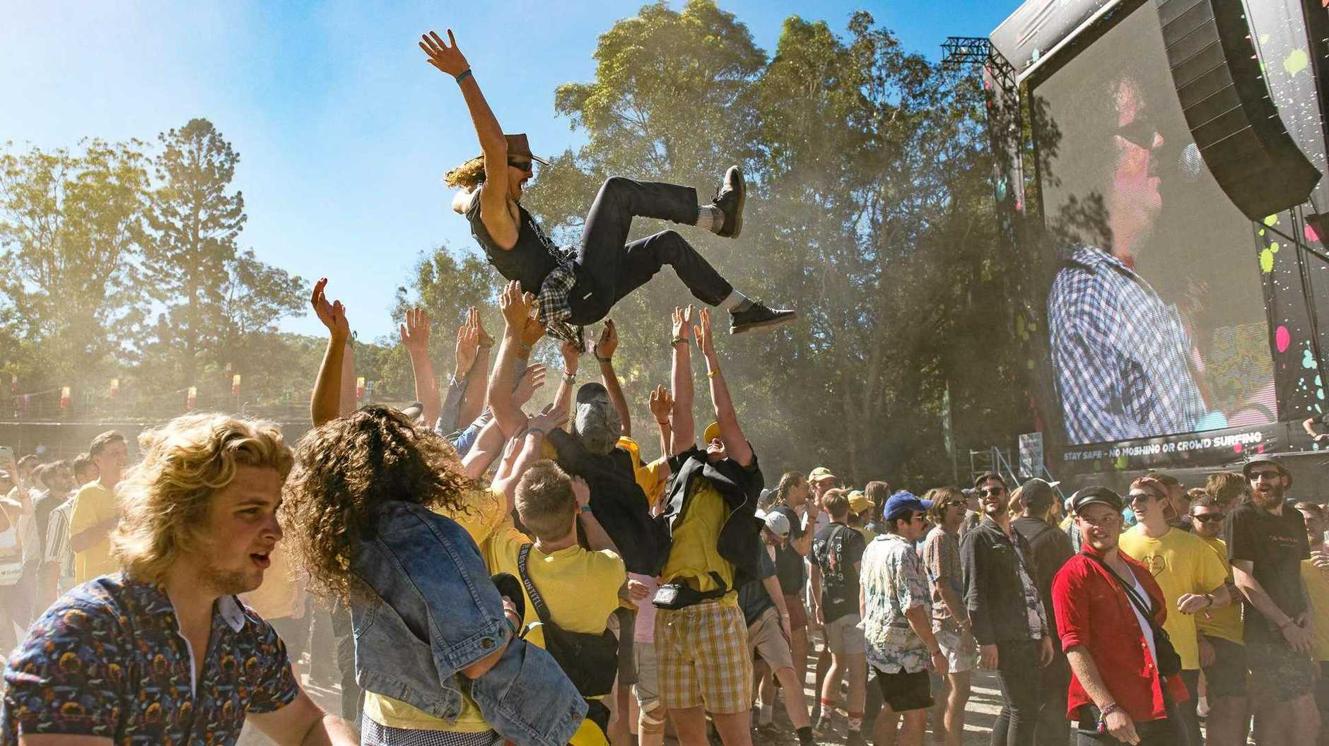 FUN: Fans enjoy the show by punk rock Brisbane band Spit Idiots at Splendour in the Grass on Sunday.