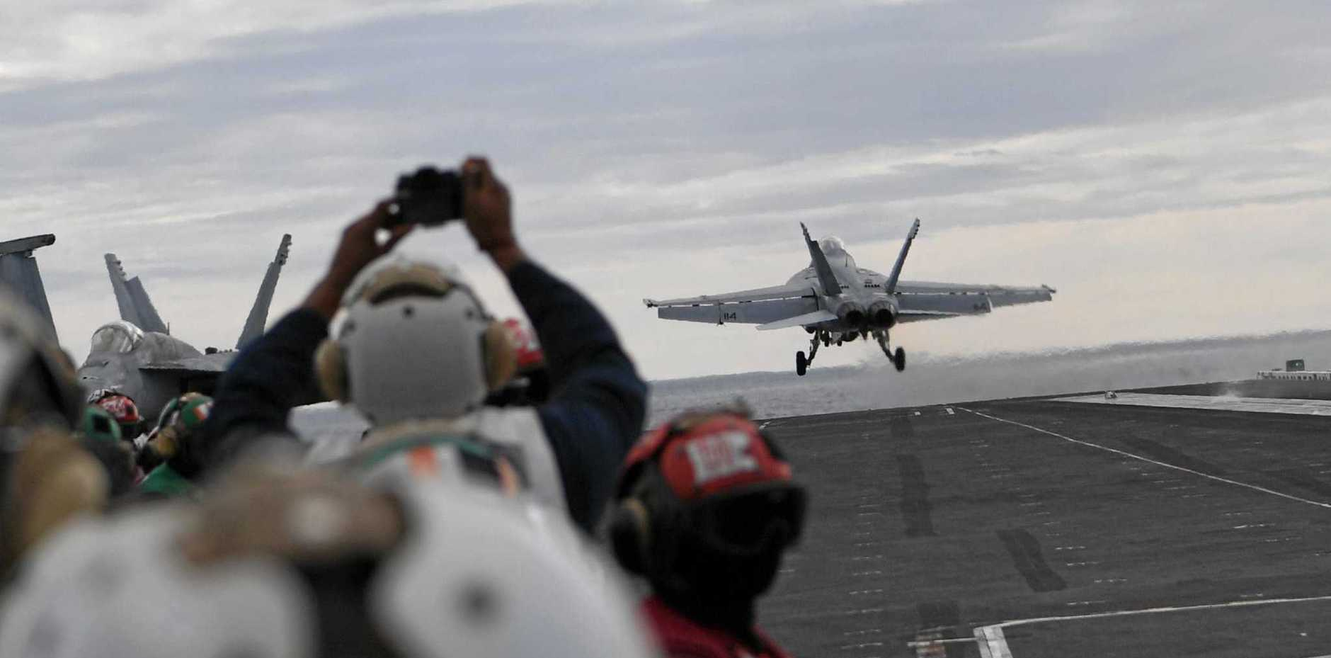 Up, up and away from the flight deck.