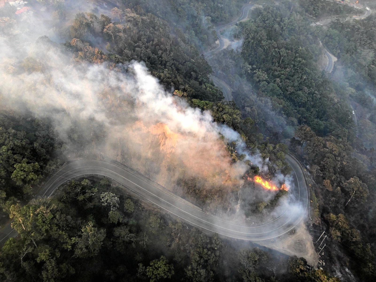 A bushfire that threatened the Eungella township and closed the Range Road in November.
