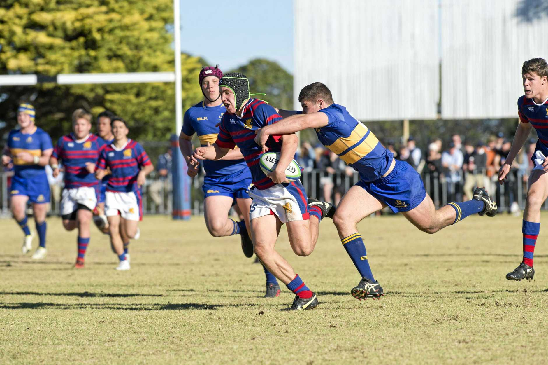 Mac Grealy on the attack for Downlands against TGS during last year's annual Toowoomba First XV clash.