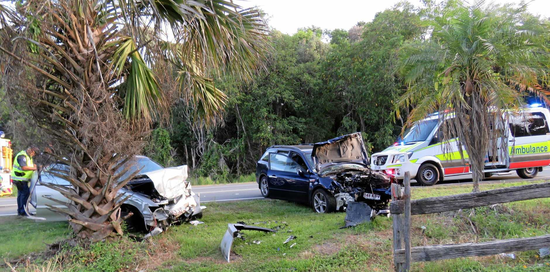 Scene from a three-car accident at Cooroy Noosa Road last November.